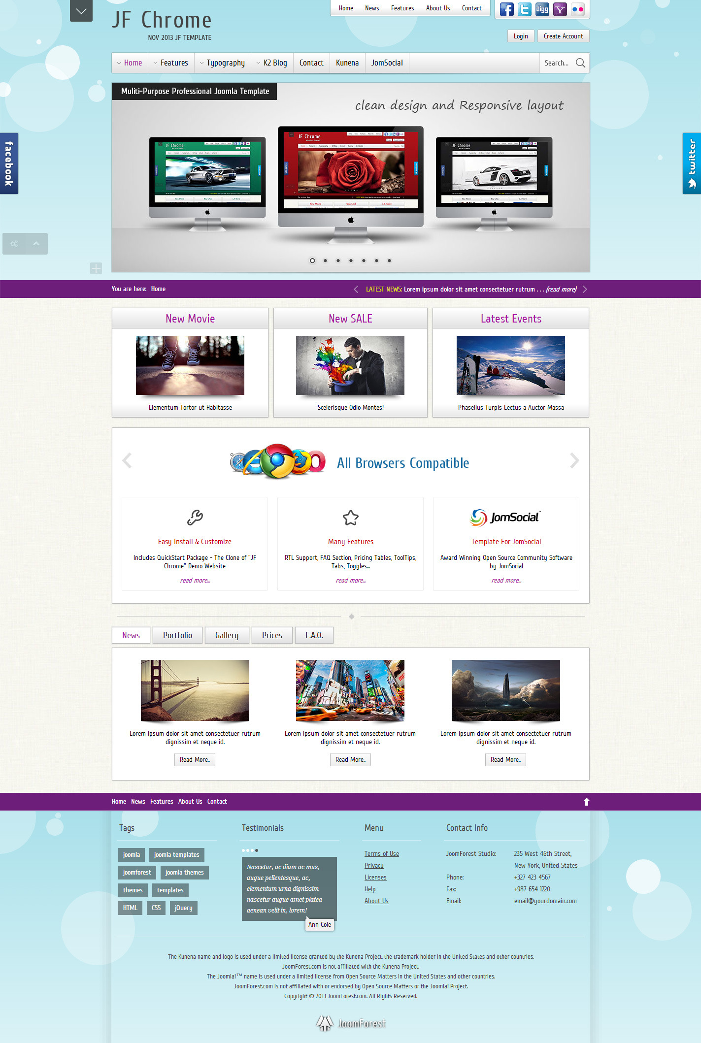 JF Chrome - Joomla Kunena JomSocial Template - JF Chrome - Light Skin