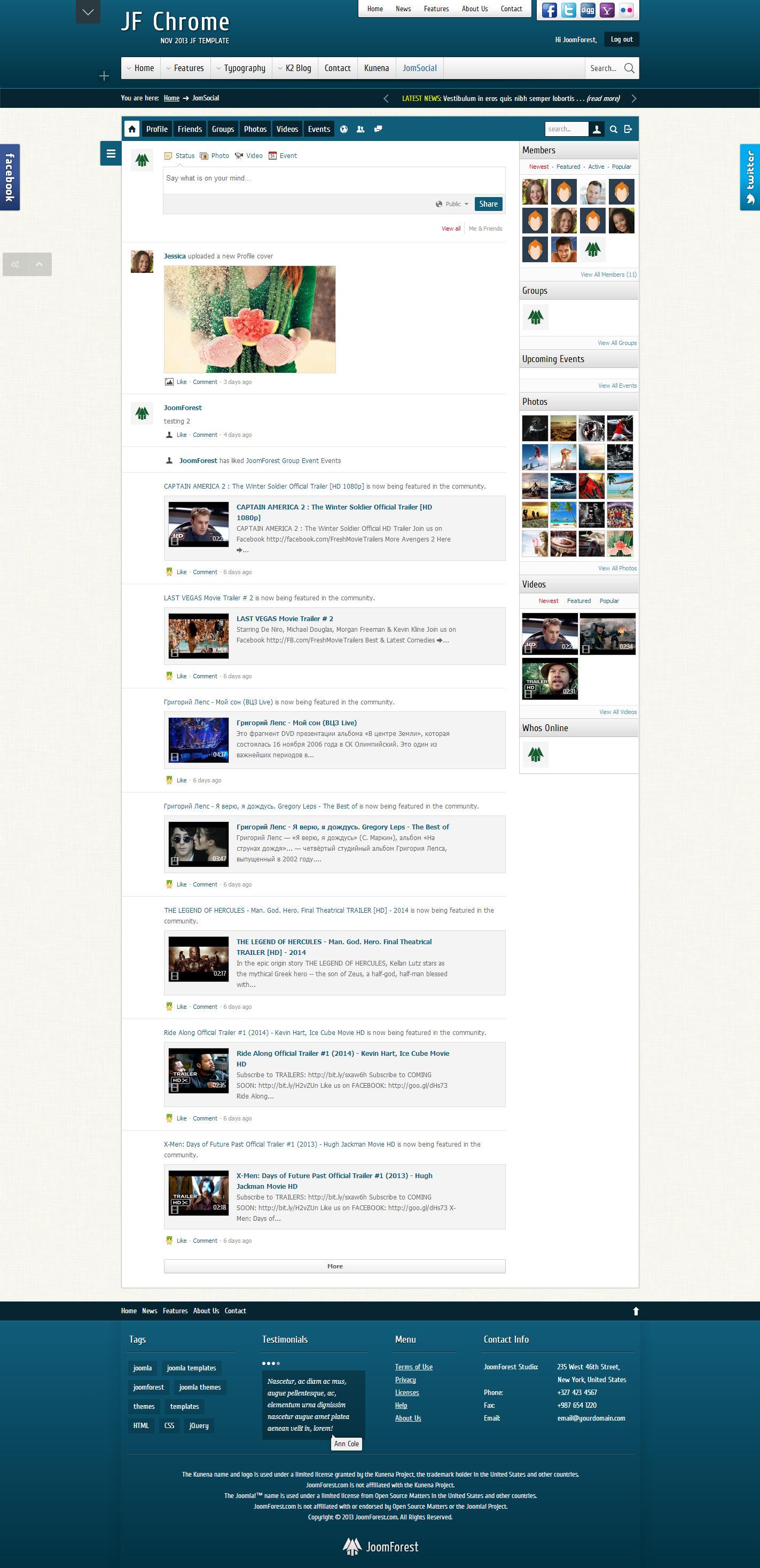 JF Chrome - Joomla Kunena JomSocial Template - JF Chrome - JomSocial FrontPage