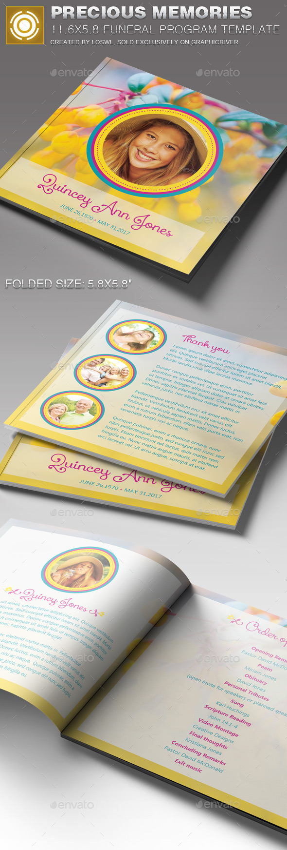 GraphicRiver Precious Memories Funeral Program Template 11244715