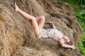 Young pretty woman relaxes on hay - PhotoDune Item for Sale