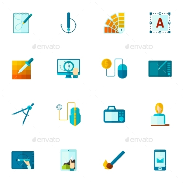 GraphicRiver Graphic Design Icons Flat 11246345