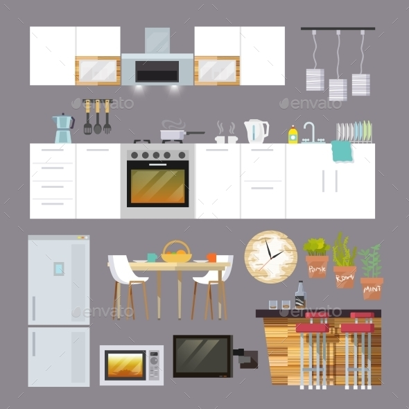 GraphicRiver Kitchen Furniture Flat 11246406