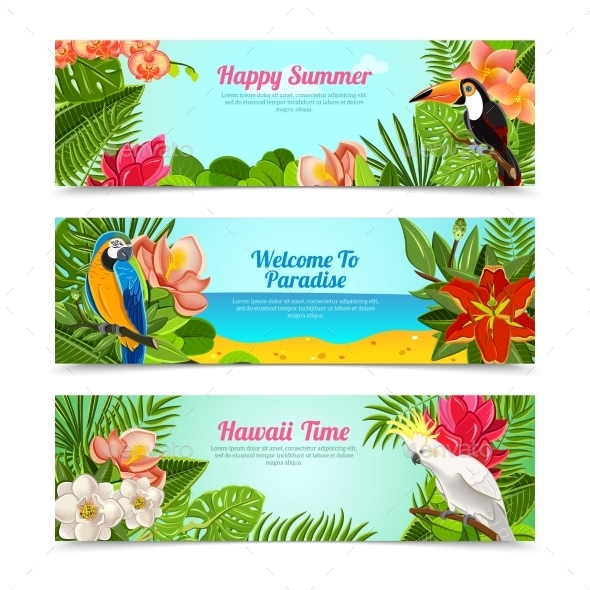 GraphicRiver Tropical Island Flowers Horizontal Banners Set 11246487