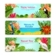 Tropical Island Flowers Horizontal Banners Set - GraphicRiver Item for Sale