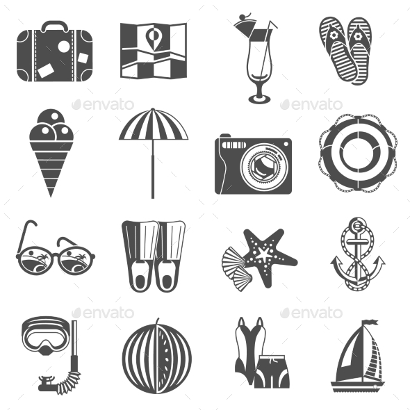 GraphicRiver Summer Vacation Icons Set Black 11246489