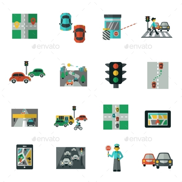 GraphicRiver Traffic Icons Flat Set 11246498