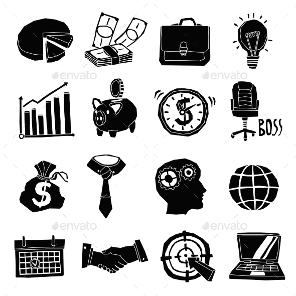 GraphicRiver Business Icons Black and White Set 11246502