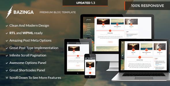 Bazinga - Blog/Portfolio/Profile Wordpress Theme - Personal Blog / Magazine