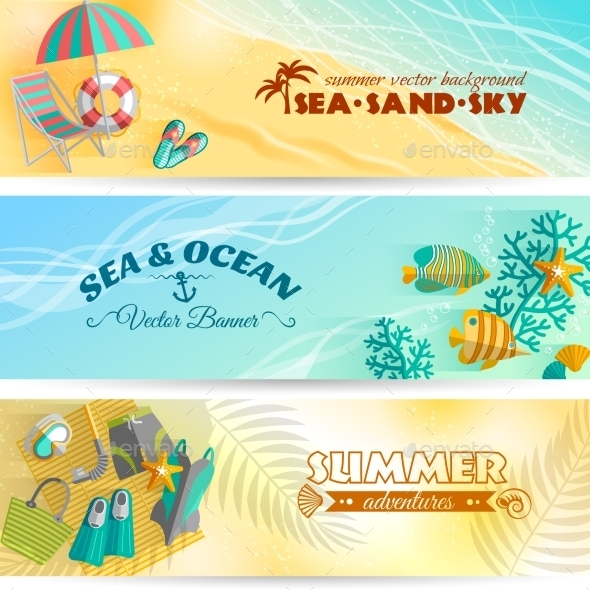 GraphicRiver Summer Holiday Vacation Banners Set 11246752
