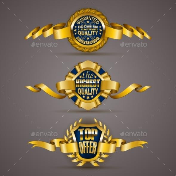 GraphicRiver Golden Badges with Laurel Wreath 11246971