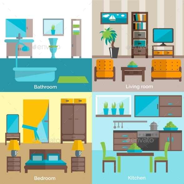 GraphicRiver Interior Rooms Furnishing 4 Flat Icons 11247129