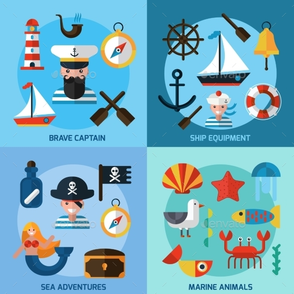GraphicRiver Nautical Icons Set 11247155
