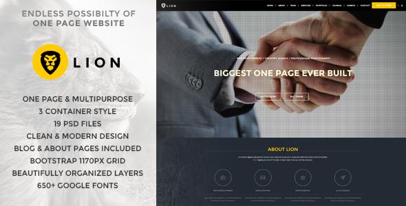 Lion - One Page & Multipurpose Retina Theme