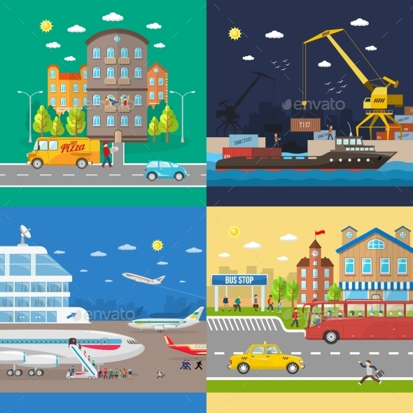 GraphicRiver Transportation of Passengers and Goods Delivery 11247200