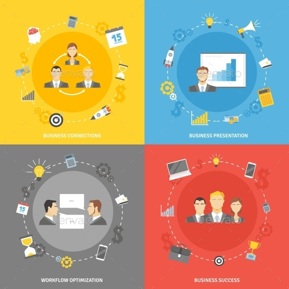 GraphicRiver Business Concept Flat Icons Set 11247204
