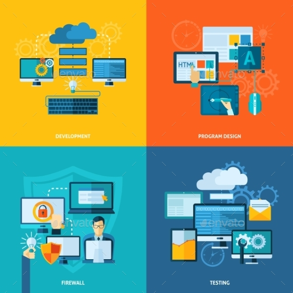 GraphicRiver Program Development Flat Set 11247205
