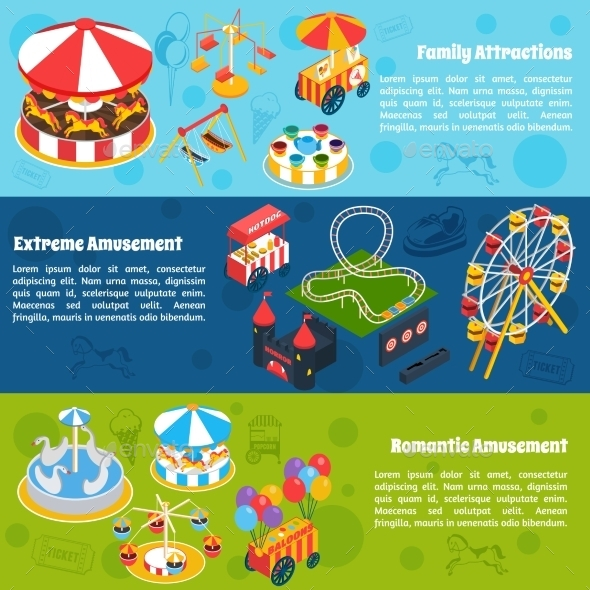 GraphicRiver Amusement Isometric Banners 11247368