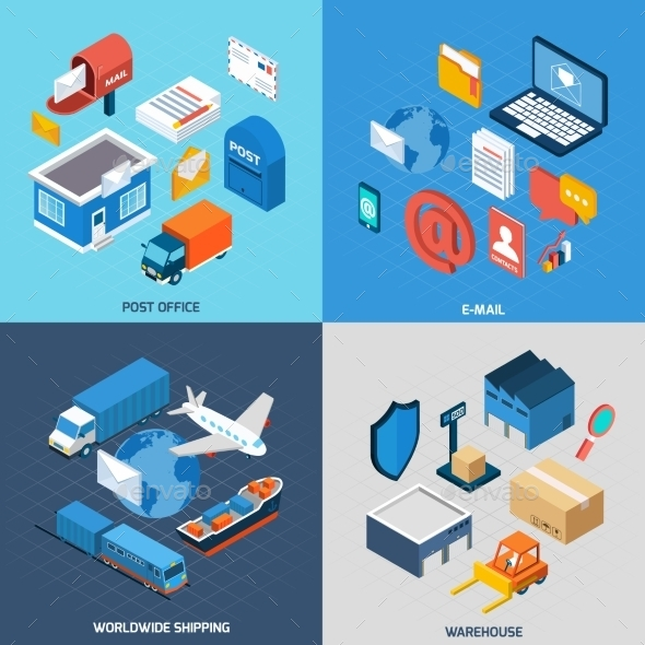 GraphicRiver Mail Isometric Set 11247371
