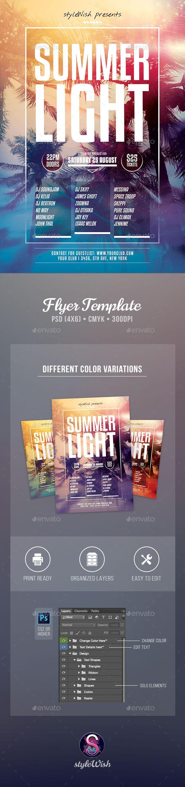 Summer Light Flyer - Concerts Events