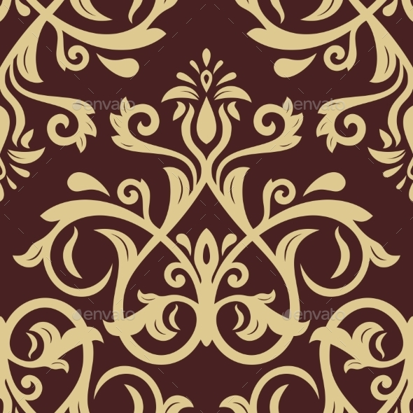 GraphicRiver Damask Seamless Pattern Golden Background 11247644
