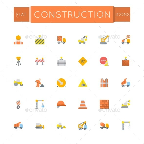 GraphicRiver Vector Flat Construction Icons 11247754