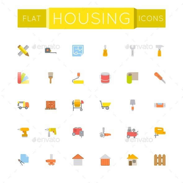 GraphicRiver Vector Flat Housing Icons 11247835