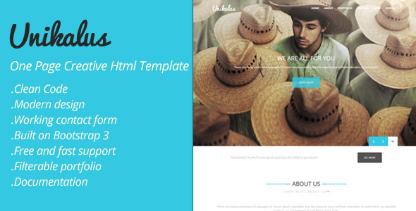 ThemeForest Unikalus One Page Creative Html Template 11210683