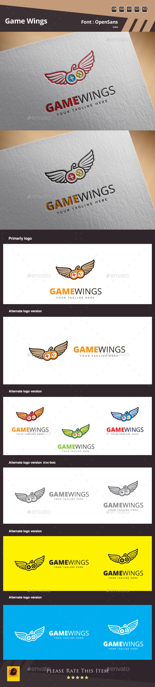 Game Wings Logo Template