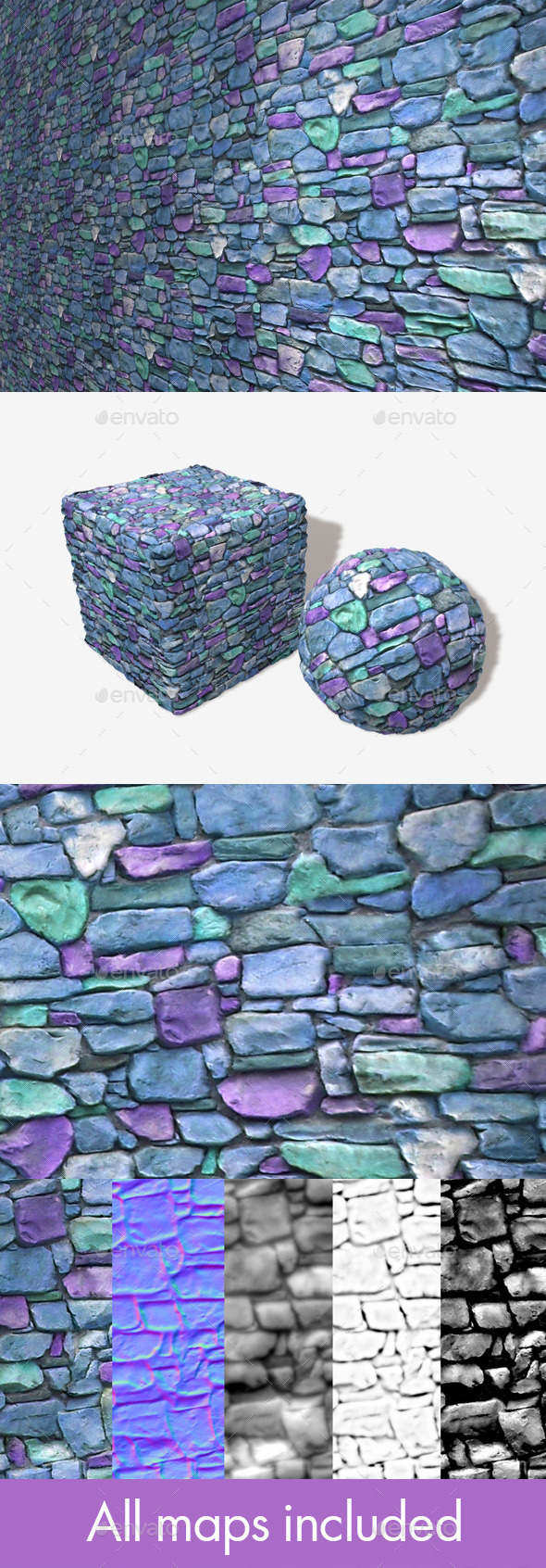 3DOcean Blue Castle Wall Seamless Texture 11249669