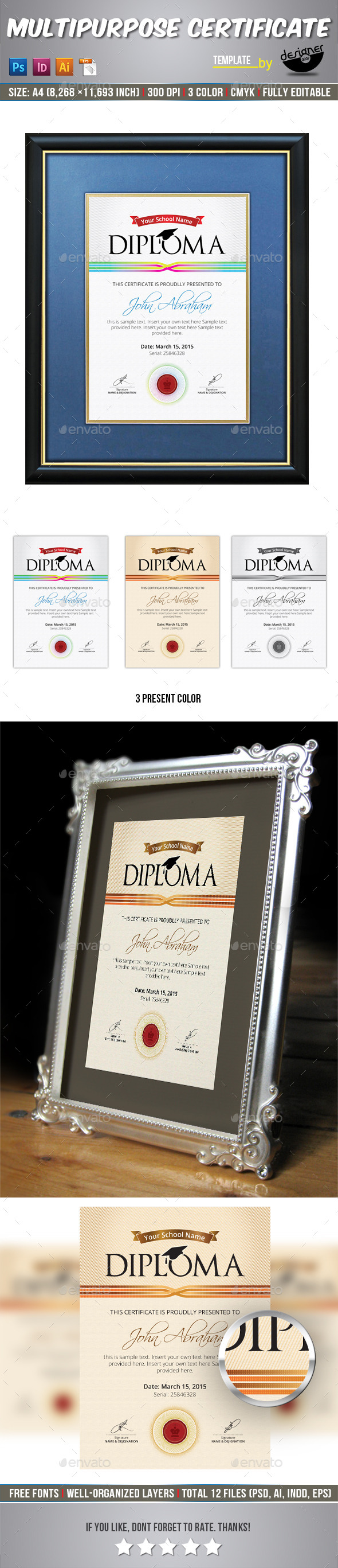 GraphicRiver Diploma Certificate Template 11249676