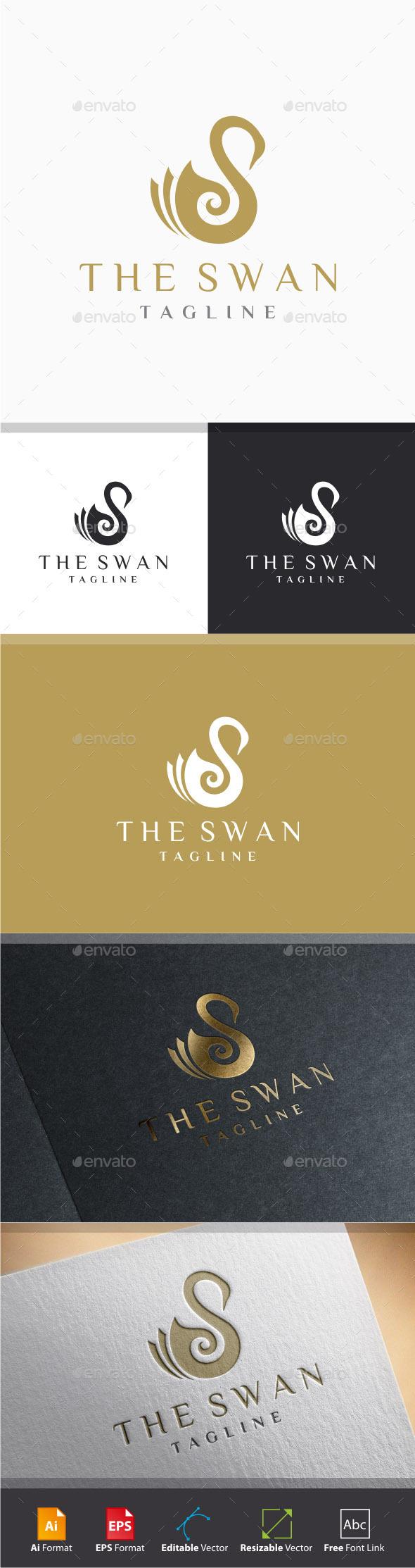 GraphicRiver Swirl Swan Logo 11220314