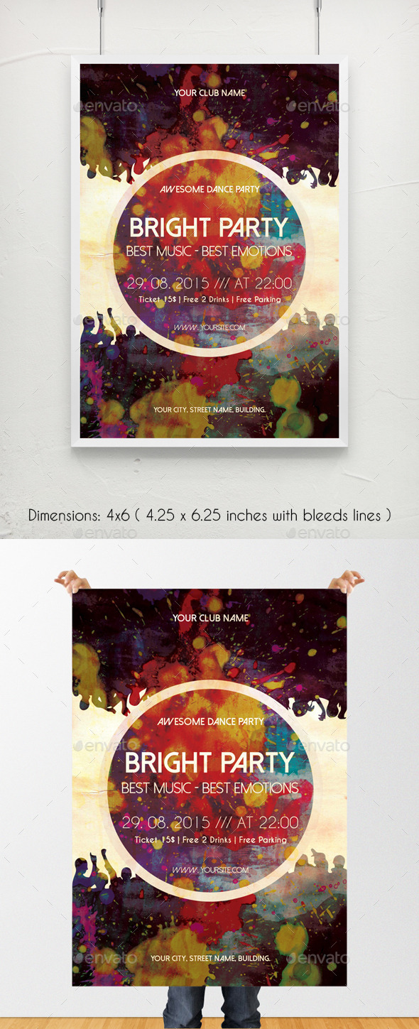 GraphicRiver Bright Party Music Poster Template 11250017