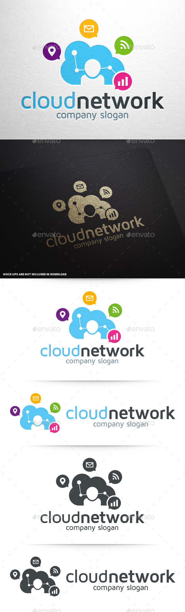 GraphicRiver Cloud Network Logo Template 11250044