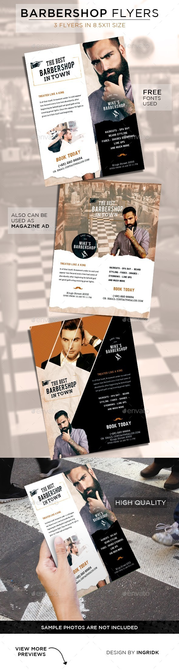 GraphicRiver Barbershop Vintage Flyers 11250101