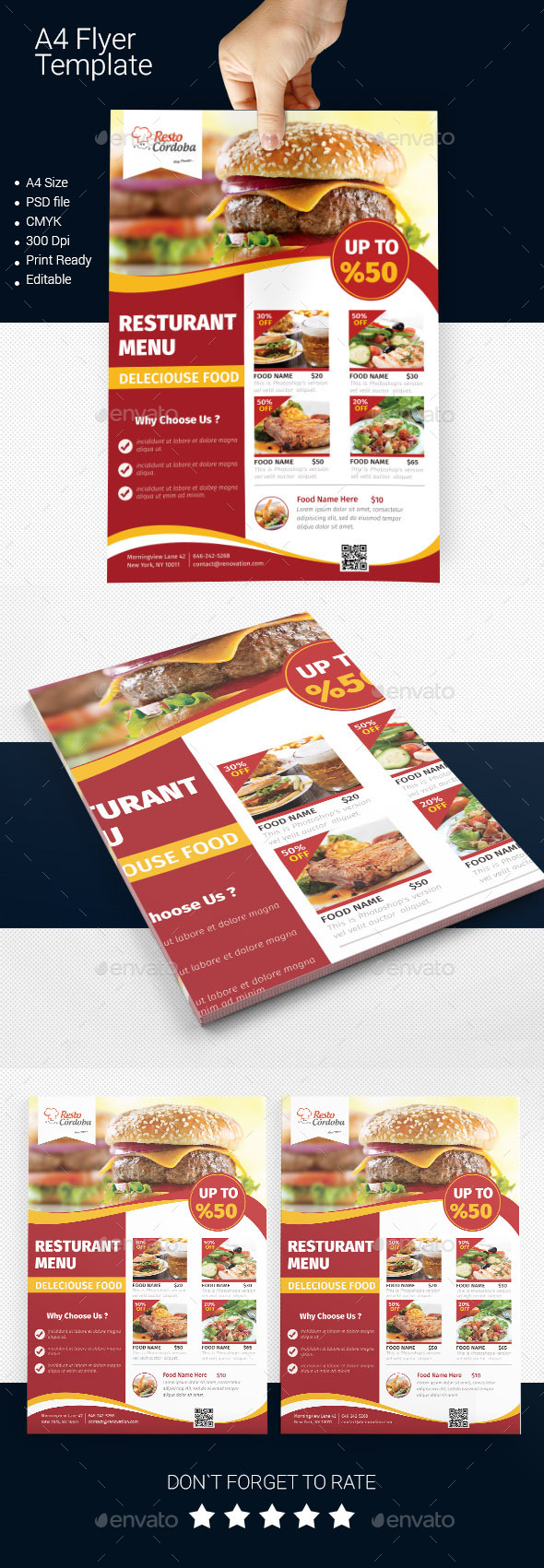 GraphicRiver A4 Delicious Food Menu DS Flyer 11250211