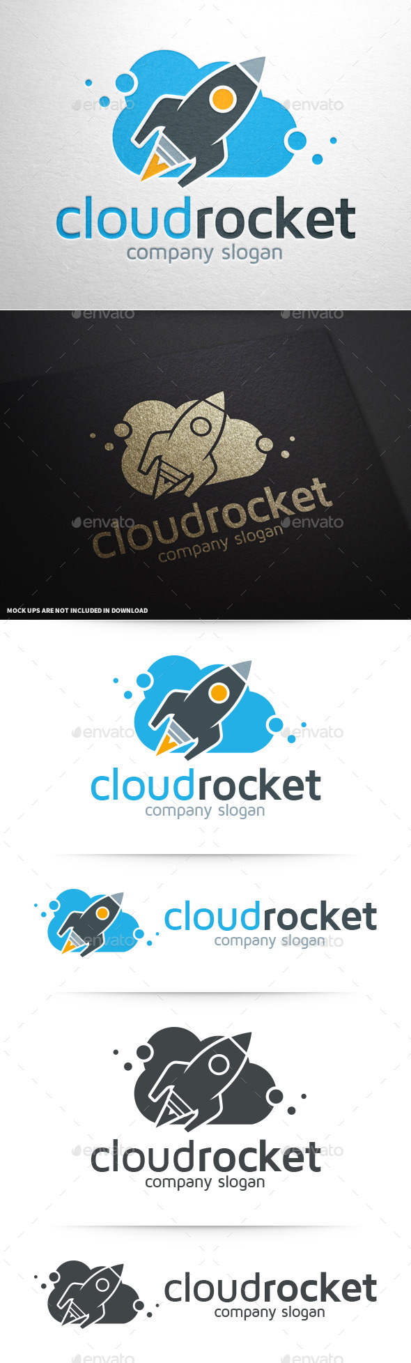 GraphicRiver Cloud Rocket Logo Template 11250272