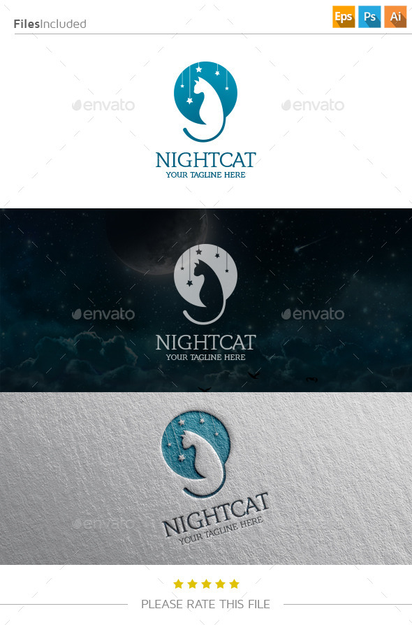 GraphicRiver Night Cat Logo 11250287