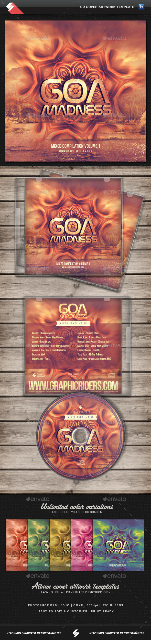 GraphicRiver Goa Madness Psytrance Album CD Cover Template 11250328