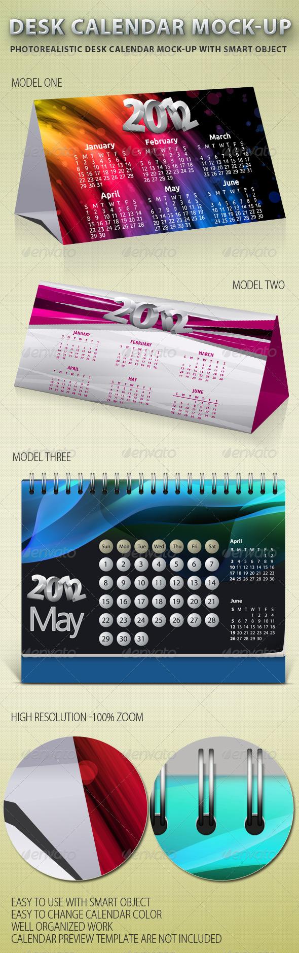 GraphicRiver Desk Calendar Mock-up 1127594