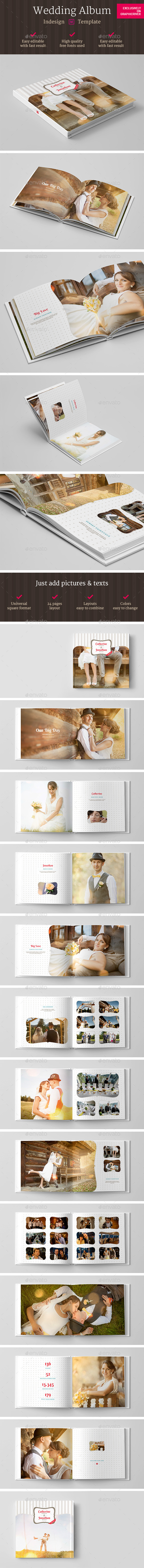 GraphicRiver Square Wedding Photo Album Indesign Template 11251093