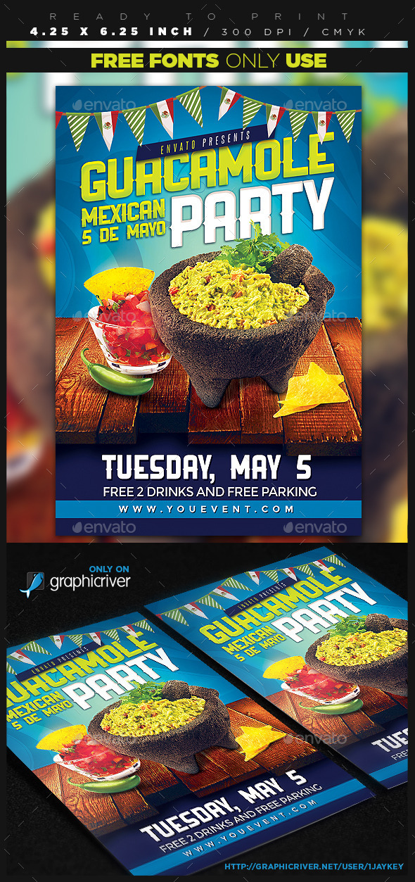 GraphicRiver Guacamole Mexican Party Flyer 11251775