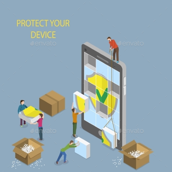 GraphicRiver Mobile Device Protection Concept Illustration 11252041
