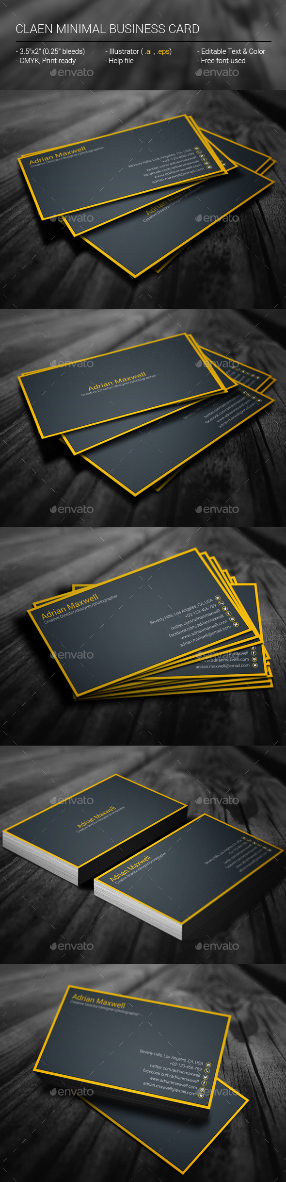GraphicRiver Clean Minimal Business Card 11252300
