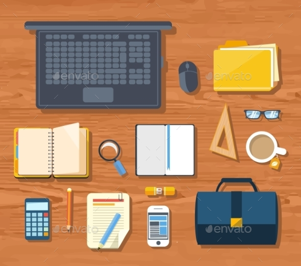 GraphicRiver Workplace With Laptop And Devices 11252302