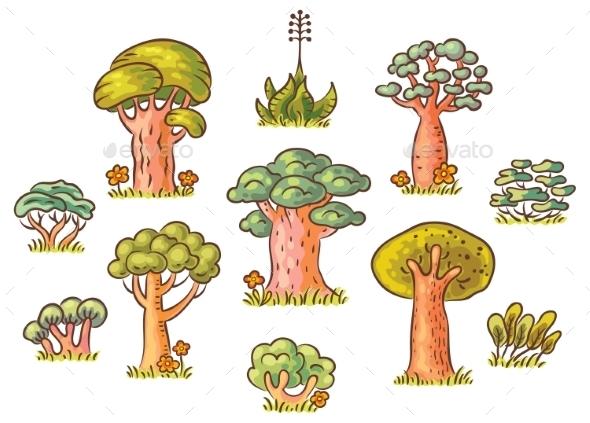 GraphicRiver Cartoon Trees Set 11252331