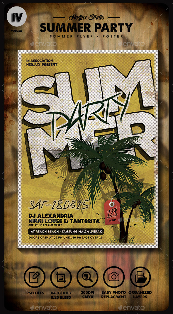 GraphicRiver Summer Party Vintage Flyer 11253036