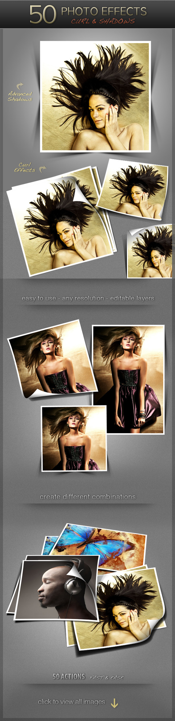50 Photo Effects - Curl & Shadows - Utilities Actions