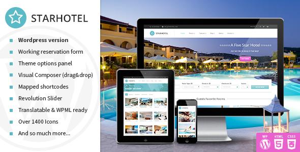 ThemeForest Starhotel Responsive Hotel Wordpress Theme 10947944