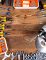 Working tools on wooden background - PhotoDune Item for Sale