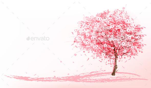 GraphicRiver Pink Blooming Sakura 11244147